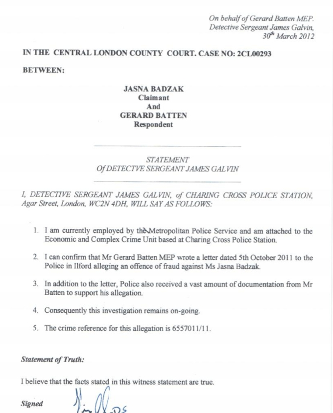 Galvin civil statement