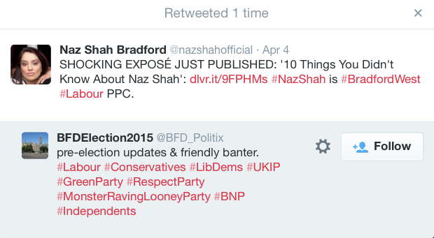 BFDelection2015 naz shah fake account